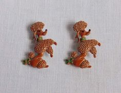 2 Gerry's Poodle Dog Pins Brooches Vintage Brown Enamel Green Collar #Gerrys