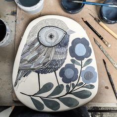 """""""Time for some birds and flora... #ceramics #wallhanging #birds #flora #handmade #handpainted #blackwing #illustration #design #pattern #create #suffolk…"""""""