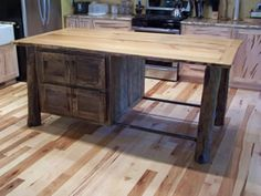Love The Floors And Reclaimed Wood Plank Leg Island Barn Board Projectsbarn Boardsfarm Themekitchen Cabinetskitchen