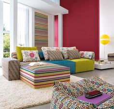 Contemporary minimalism with color/pattern twist --- Interior Design Inspiration from Linea Italia - infinite living room design ideas with Kube! Interior Wallpaper, Interior Design Living Room, Room Colors, Colorful Living Room Design, Colourful Living Room, House Interior, Room Design, Room Decor, Apartment Decor