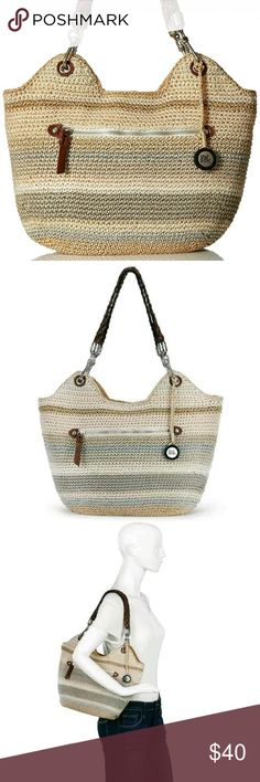 """The Sak 'Indio' hand crochet bag A favorite summer crochet tote, featuring the Sak signature Tight Weave, Indio fits everything for everyday-wear or for a day at the beach.  Selected Print: Sand Stripe Measures: 15"""" × 9"""" NWT, perfect condition!   Check out my closet for more great items! I offer bundle discounts and welcome offers! Anthropologie Bags Hobos"""