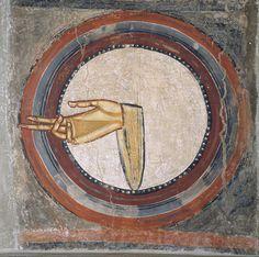The Hand of God (ca. 1123), a fresco from the ceiling of Sant Climent de Taull, Barcelona; on display at the Museu Nacional d'Art de Catalunya, Barcelona