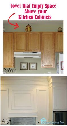 Kitchen Cabinet Remodel How to close the space above the kitchen cabinets with MDF and moldings.add colored strips: - How to close the space above builder's grade oak kitchen cabinets with MDF and moldings Easy Home Decor, Oak Kitchen, Kitchen Upgrades, Home Remodeling, New Homes, Home Renovation, Above Kitchen Cabinets, Kitchen Renovation, Kitchen Cabinets Makeover