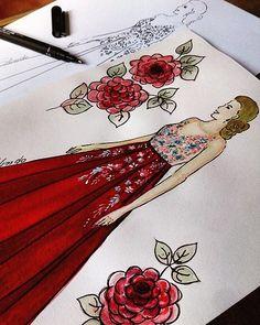 @paulabelo1 vestido de festa de PatBo, em tafetá vermelho e tule bordado.  #croqui#moda#designermoda#modarecife#designer#fashion#look#designmoda#art#ilustraçao#brazil#fashionilustrador#artisti#dress#aniversario#vestidovermelho#princesa#boatarde#modarecife#moda#desenhodemoda
