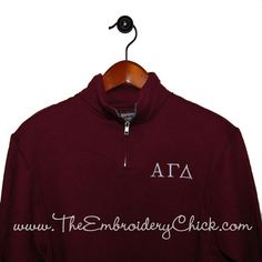 Quarter Zip Fleece Sorority Pullover from The Embroidery Chick.