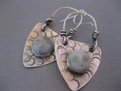 Sterling Silver Triangle Earring with Ocean Jasper