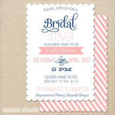 Vintage Scalloped Bridal Shower Invitation Baby by casalastudio, $15.00