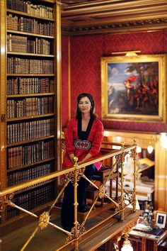 Jane Percy, the Duchess of Northumberland, in her library in Alnwick Castle.