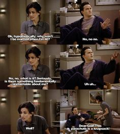 Ironically, they don't realize that they willbe married by the time they are to each other! Friends Tv Quotes, Friends Scenes, Friends Episodes, Friends Moments, Friends Show, Friends Season, Friends Chandler And Monica, I Love My Friends, Funny Friend Memes