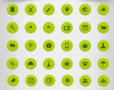 32 Round Green Web Icons Pack PSD - http://www.dawnbrushes.com/32-round-green-web-icons-pack-psd/