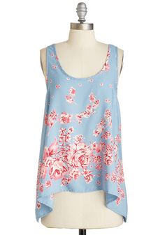 Roses in Repose Top - Mid-length, Woven, Blue, Pink, Floral, Casual, Sleeveless, Scoop