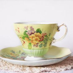 Vintage EB Foley English Tea Cup Footed Yellow and Green Teacup Floral Fine China Cabinet Decor Scalloped Edge Tea Party Gift for Her