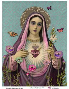 #Virgin #Mary #religious #iconography #icon #spirituality #devotion #sacred #heart #beautiful #digital #collage