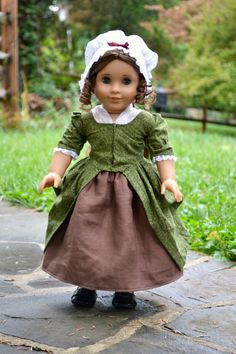 Colonial Gown and Cap for AG dolls Felicity & Elizabeth by PemberleyThreads on Etsy  $75.00