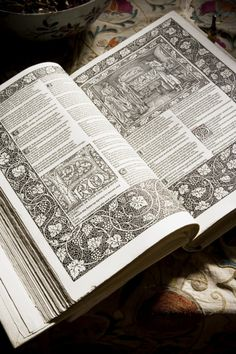 Copy of the 'Kelmscott Chaucer', published by William Morris in 1896, his last major artistic project, at Wightwick Manor.