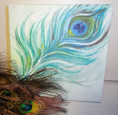 Feather painting peacock feather art Abstract by MariasIdeasArt, $42.00