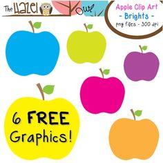 FREE Apples Set: Clip Art Graphics for Teachers {Brights} - The Hazel Owl - TeachersPayTeachers.com