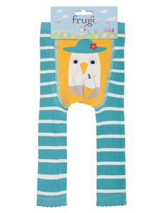 Frugi - Organic Cotton - Little Knitted Leggings - Aqua/Seagull – Baby Gift Works