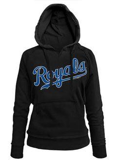 Kansas City Royals Womens Hooded Sweatshirt - Black Royals Brushed Fleece Long Sleeve Hoodie