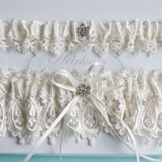 Wedding Garter Set, Lingerie, Garters, Bridal Garters, Weddings Garter in Ivory Heirloom Venice Wedding Lace by GartersByGarterLady on Etsy https://www.etsy.com/listing/62745659/wedding-garter-set-lingerie-garters