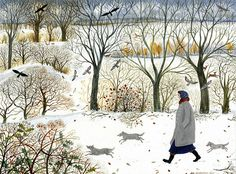 A fine art greeting card, blank inside for your own message, from a painting by artist Dee Nickerson. Perfect for a friend who loves walking dogs in the snow. Winter Illustration, Illustration Art, Guache, Winter Art, Naive Art, Christmas Art, Landscape Art, Illustrators, Folk Art