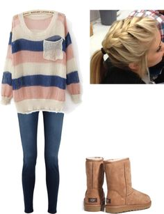 Cozy sweater + warm boots + fall braid