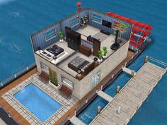 House 19 (houseboat) level 2 #sims #simsfreeplay #simshousedesign Sims Freeplay Cheats, Sims Freeplay Houses, Sims Free Play, Floating Homes, Sims House Design, Home Builders, House Ideas, Mansions, House Styles