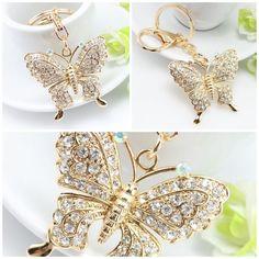 Exquisite fashion Rhinestone Butterfly Keychain  $11.00 ➤ goo.gl/T22GQU Butterfly, Cool Stuff, Places, Jewelry, Fashion, Moda, Jewlery, Bijoux, Fashion Styles
