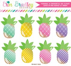Pineapples Clipart Set – Erin Bradley/Ink Obsession Designs