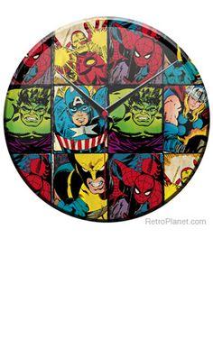 Fancy - Marvel Comics Superheroes Collage Glass Clock | Clocks | RetroPlanet.com