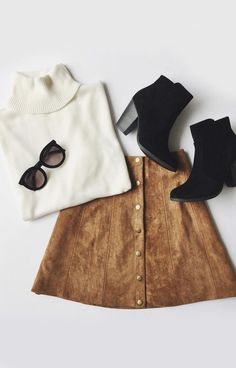 A high, fitted waist tops this '70s inspired A-line skirt composed of soft microfiber suede. #lovelulus