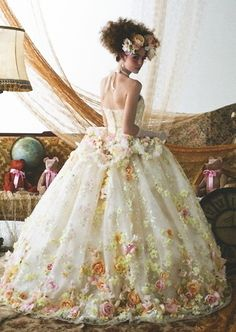ball gown sprinkled with flowers
