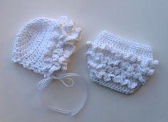 Crochet Pattern for Ruffled Baby Bonnet Hat by crochetbyjennifer