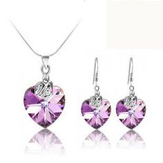 Aliexpress.com : Buy Romantic Crystal Jewery Sets Pendant 925 Silver Necklace Free Shipping on Novel Living.