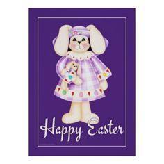 Easter Bunny Girl purple easter wall art