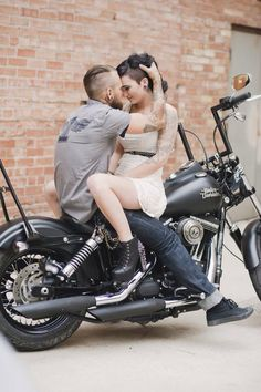 Photo by Amy Cloud Photography, Salt Lake City Utah. Engagements. Wedding. Harley Davidson. Motorcycles. Tattooed couple. Tattoos. Converse.