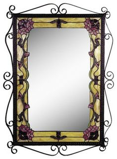 This floral art glass wall mirror is as pretty as a picture! From the Dale Tiffany brand. Style # at Lamps Plus. Stained Glass Mirror, Tiffany Stained Glass, Tiffany Glass, Glass Wall Art, Traditional Mirrors, Vintage Borders, High Art, Dark Colors, Wall Mirror