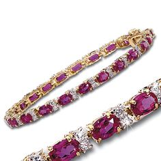15-Carat Simulated Ruby and CZ Tennis Bracelet