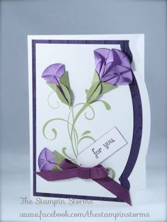 """2014 Card made by The Stampin Storms she wrote: """"This technique was popular back in 2008 and there are a bunch of tutorials on it already. It is called the Dahlia fold... here's a link to one http://www.splitcoaststampers.com/resources/tutorials/dahlia_fold/"""""""