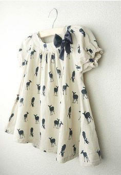 Image of Girls Deer Print Tunic Dress (with sleeves) by lil haus of hammer