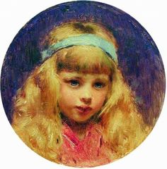 Portrait of the Girl with a Blue Ribbon in a Hair - Konstantin Makovsky