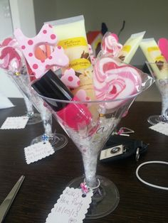 Giant Cosmo glasses filled with goodies!