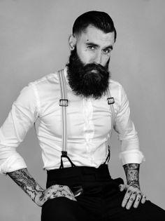 Ricki Hall full thick dark beard dapper stylish style men man beards bearded suspenders suited up #sharpdressedman