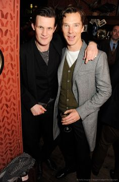 Benedict Cumberbatch and Matt Smith (who auditioned for John Watson, but didn't make it... but Moffat sought him out as the 11th doctor!) together. Thats too awesome for one pic!
