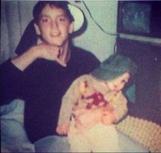 Very young Eminem and his brother, Nathan Mathers.