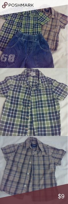 🌼 Bundle of 2 Boys Plaid Shirts EUC Excellent condition. No rips, tears or stains. Green plaid is Cherokee. Brown plaid is Sonoma. All buttons are intact. Size is 2T. Shirts & Tops