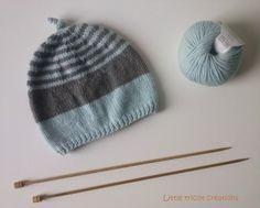 Bonnet bébé (6 mois) bleu ciel et gris, fait-main en laine et cachemire : Mode…