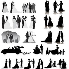 Silhouettes of newlyweds, car with banks, crowd of guests, groom makes a marriage proposal in different poses and other.