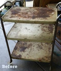 """""""I went to a garage sale and stumbled upon this cart for only $2.00!"""" See her gorgeous kitchen idea!"""