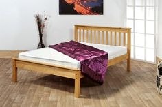 Chesterton Bed Frame - - Bang on trend, low foot end shaker styled pine bed frame with smooth clean lines in a natural waxed finish. Pine construction with double bolted side rails for extra strength and durability and a pine slatted base Single Wooden Bed Frames, Pine Bed Frame, Small Double Bed Frames, Bed Frame With Mattress, King Size Bed Frame, Bed Mattress, Latex Mattress, Bed Centre, Leather Bed Frame